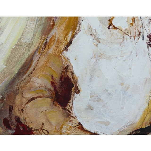 Mid-Century Modern Oil on Panel Board of a Seated Woman With Headscarf, Unsigned C1965 For Sale - Image 3 of 11
