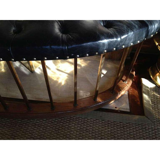 1950s Bow-Shape French Fireside Club Fender With Black Leather Tufted Seat For Sale - Image 5 of 6