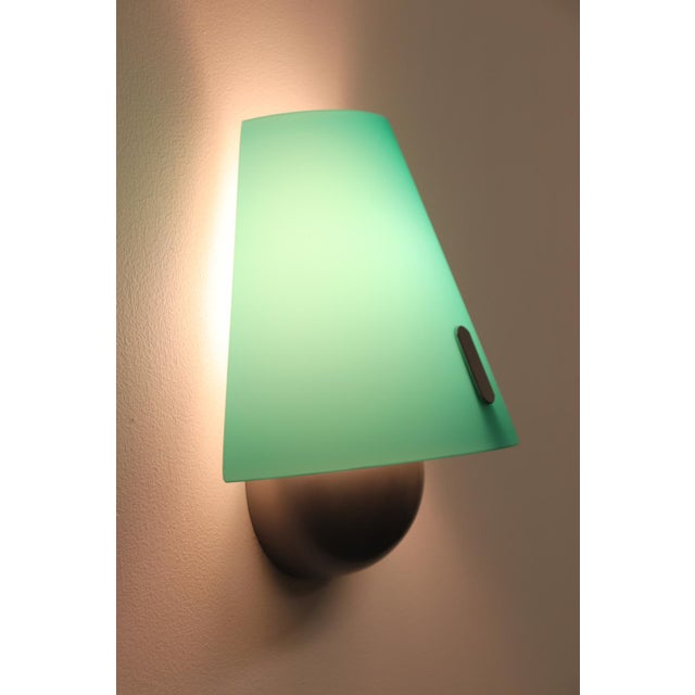 Avocado Mid-Century Modern Murano Green Glass Wall Lamp For Sale - Image 8 of 12