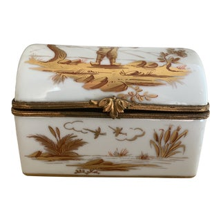 Antique White and Gold Handpainted Limoges Chinoiserie Casket Box For Sale