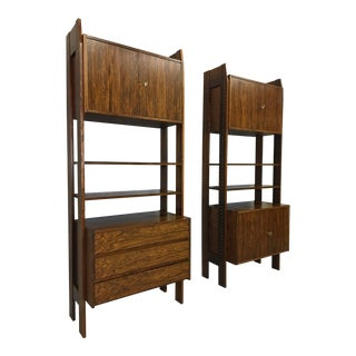 Rosewood Wall Unit With Four Cabinets and Shelving