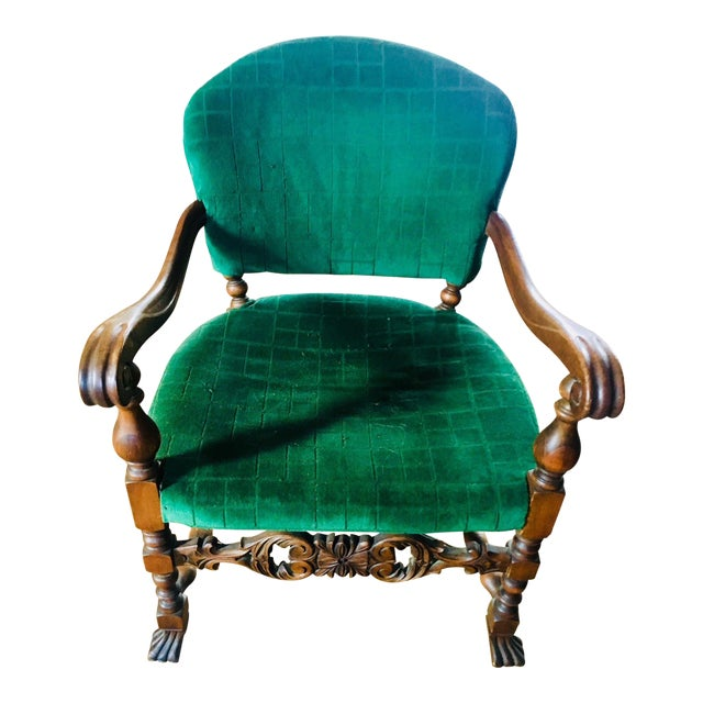 1920s Vintage Carved Emerald Armchair For Sale