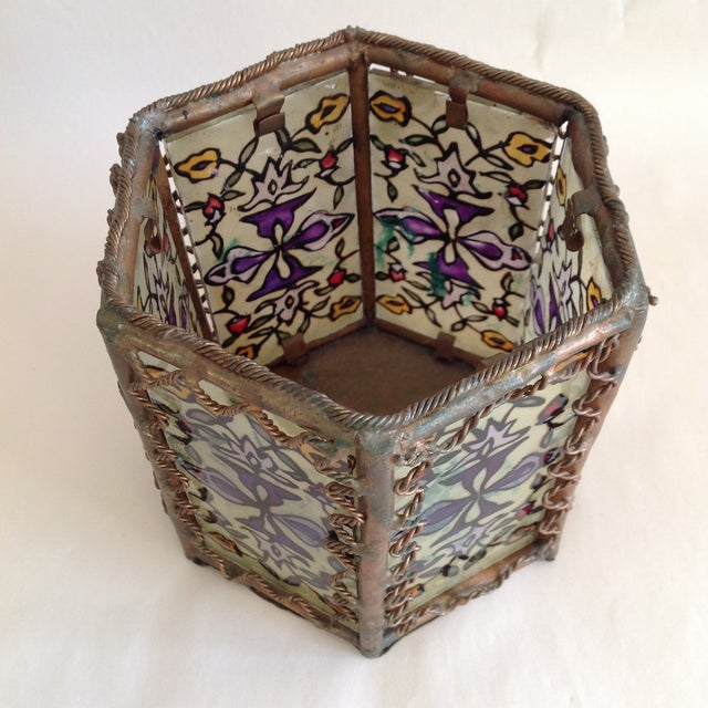 Bohemian Moroccan Brass & Glass Candle Lantern - Image 8 of 10