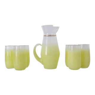 1970s Yellow Blendo Pitcher and Cups - Set of 7