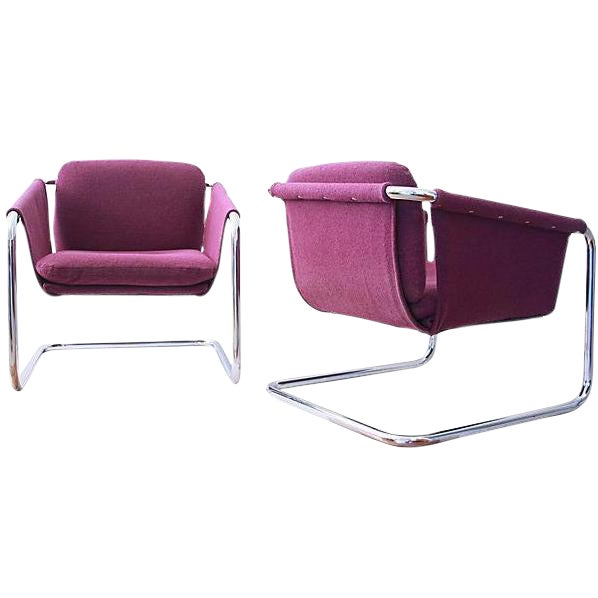 1980s Postmodern Cantilevered Chairs - A Pair - Image 1 of 10