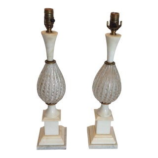Mid Century Murano Neo-Classic Style Lamps - a Pair For Sale