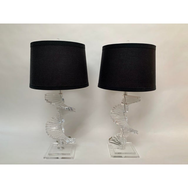 Contemporary Vintage Stacked Lucite Helix Form Lamps - a Pair For Sale - Image 3 of 11