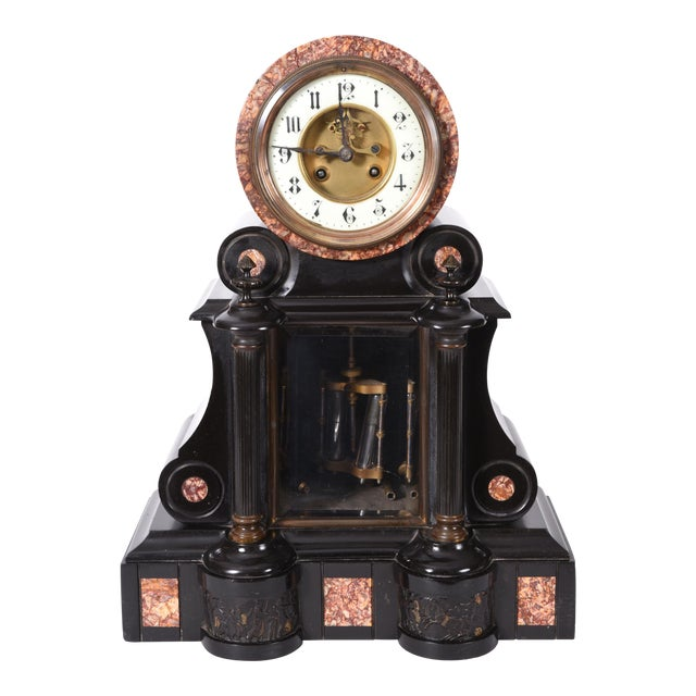 Antique French Marble and Bronze Mantle Clock For Sale