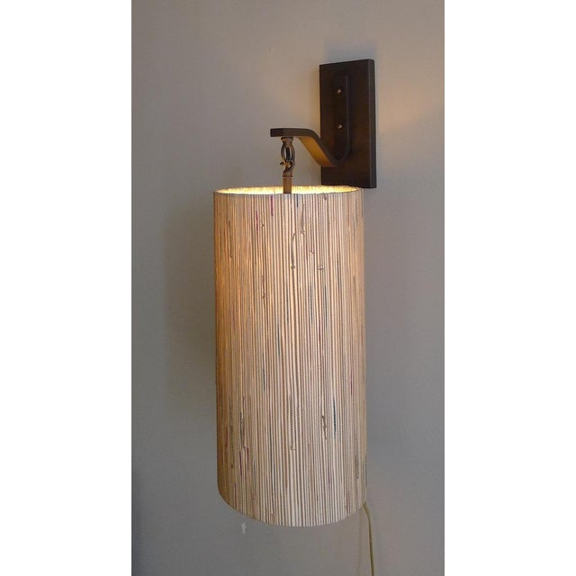 Modern Sconce with Custom Grasscloth Shade For Sale - Image 9 of 9