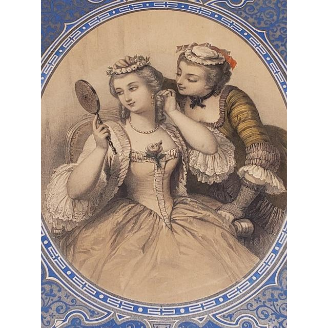 """Early 19th Century Pair of Early 19th Century """"Charm"""" Framed Color Lithographs C.1832 For Sale - Image 5 of 8"""