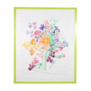 1970s Vintage Pastel Spring Flower Bouquet Watercolor Painting For Sale
