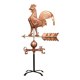 19th Century French Patinated Copper Rooster Weather Vane With Cardinal Points For Sale