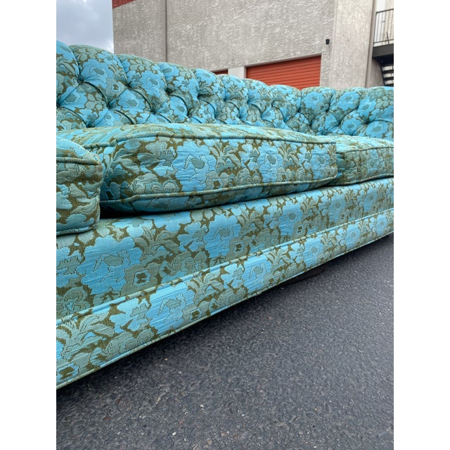 Vintage Tufted Floral Chesterfield Sofa For Sale - Image 9 of 13