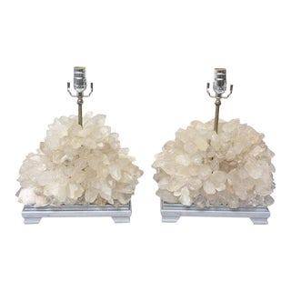 Vintage Carole Stupell Quartz Rock Crystal Table Lamps - a Pair For Sale