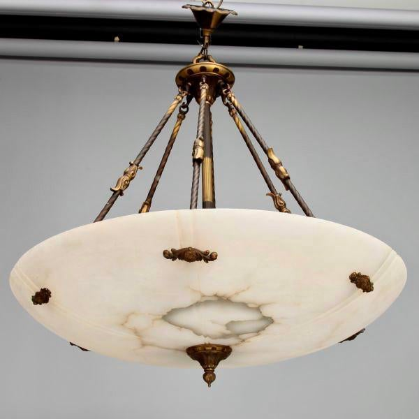 "Extra large, circa 1930s Italian alabaster hanging light fixture. Alabaster bowl is 48"" diameter and features the original..."
