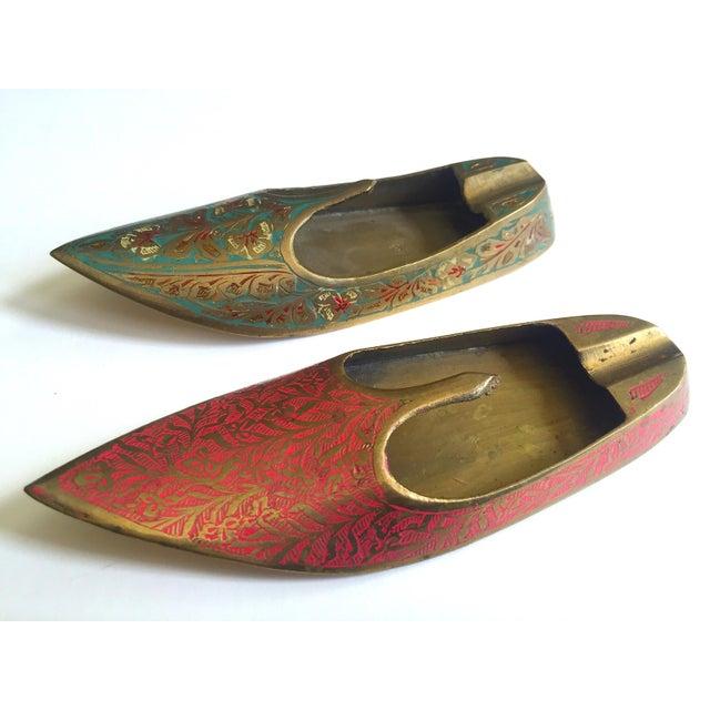 Vintage Mid Century India Cast Brass Incised Enamel Shoes Incense Burner Ashtrays - Set of 2 For Sale - Image 13 of 13