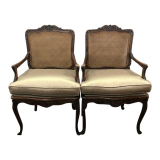 French Caned Back and Upholstered Arm Chairs - a Pair For Sale