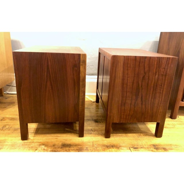Pair of Mid Century Walnut Nightstands 196s For Sale - Image 9 of 11