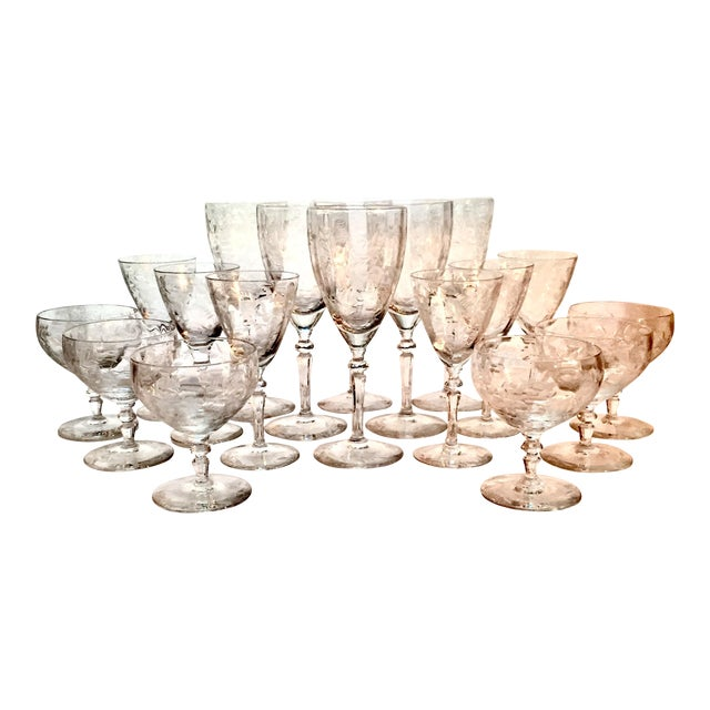 Art Deco Etched Crystalware Set - 18 Pieces For Sale