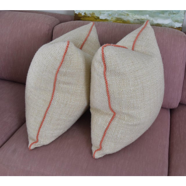 Neutral & Coral Cord Pillow Covers - a Pair - Image 6 of 7