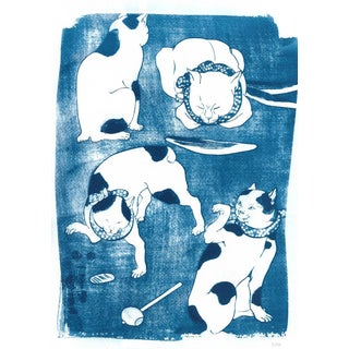 Cyanotype Print on Watercolor Paper, Limited Edition: Japanese Cats Vintage Ukiyo-E Traditional Japanese Art, Japanese Animal Art, Asian Decor For Sale