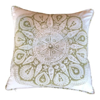 Les Indiennes Block Print Pillow With Welt