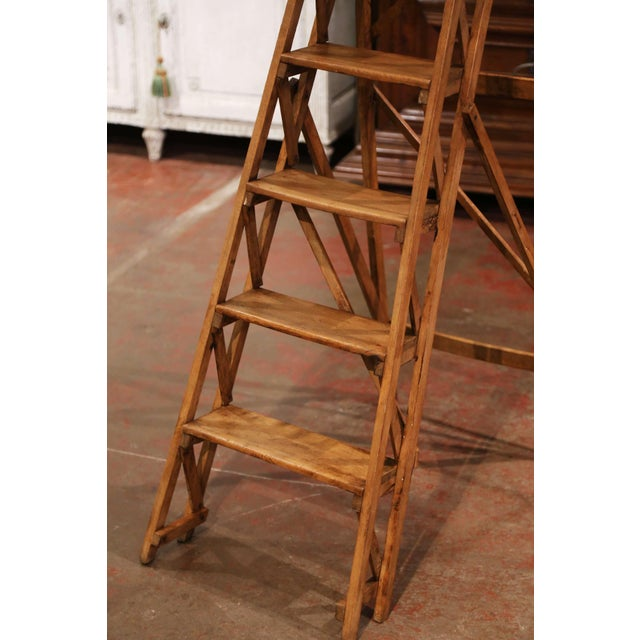 19th Century French Napoleon III Carved Walnut Folding Library Six-Step Ladder For Sale - Image 4 of 12