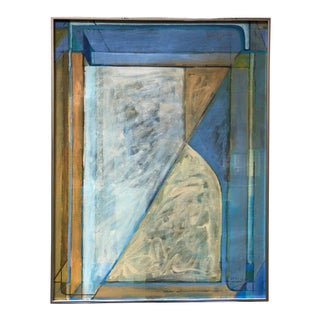 Vintage 80s Geometric Abstract Oil Painting Signed Mariko Nutt For Sale