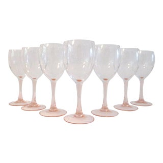 Vintage Blush-Pink French Crystal Wine Glasses - Set of 7 For Sale