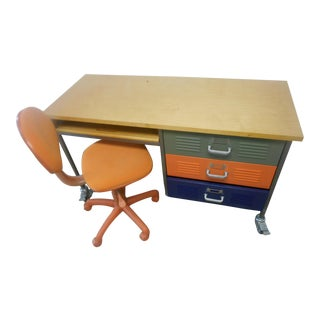 Mid-Century Industrial Writing Desk & Chair - A Pair