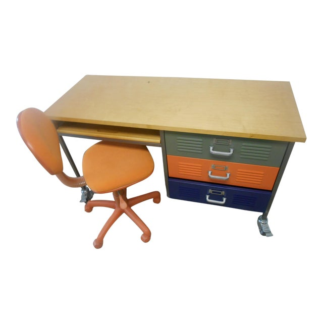 Mid-Century Industrial Writing Desk & Chair - A Pair For Sale