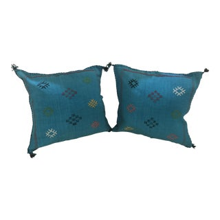 Moroccan Wool Hand-Loomed Teal Pillows For Sale