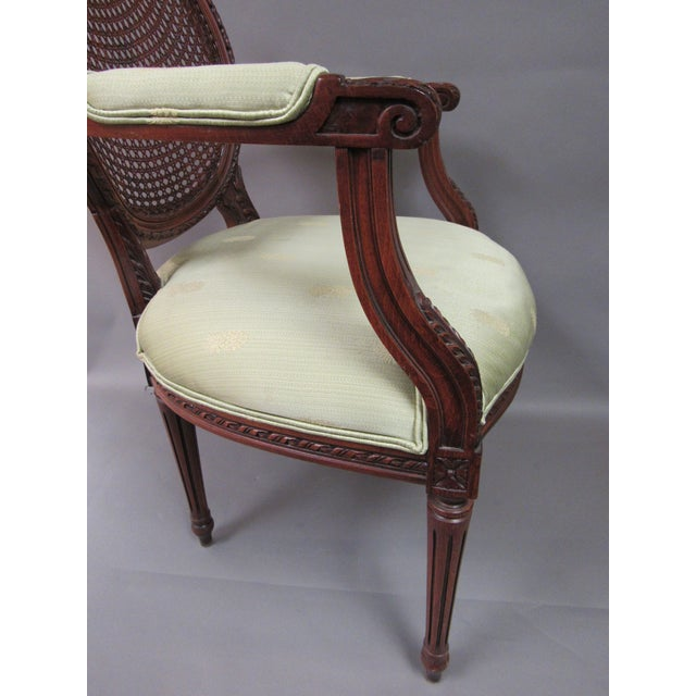 Light Green Vintage Fairfield Louis XVI Style French Upholstered Cane Back Bergere Chair For Sale - Image 8 of 11