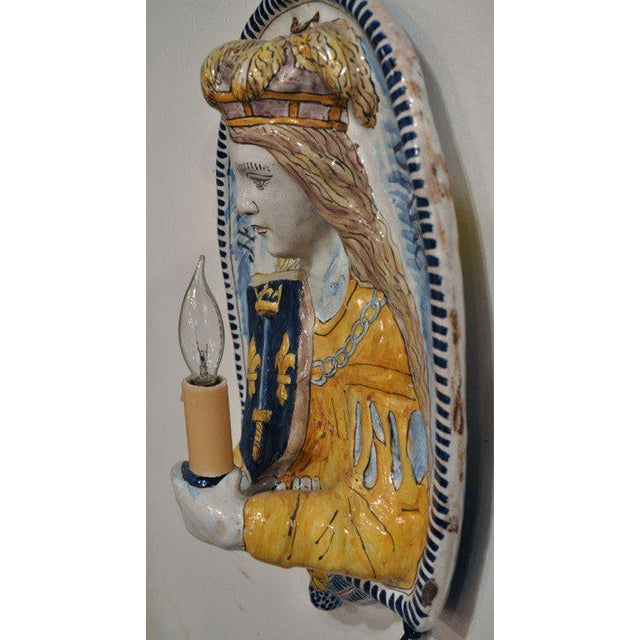 19th Century French Joan of Arc & Duc d'Orleans Faience Sconces - A Pair For Sale In Dallas - Image 6 of 10