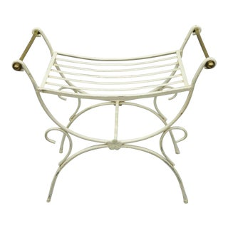 Vintage Mid Century French Hollywood Regency Style Wrought Iron & Brass Curule Vanity Bench For Sale