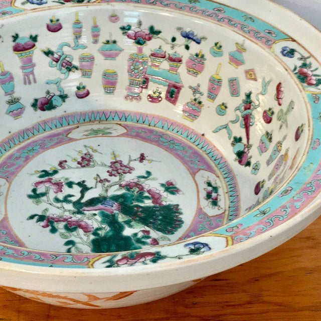Large Qing Dynasty Famille Verte Peacock and Vase Motif Bowl For Sale - Image 4 of 13