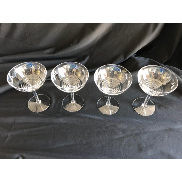 "Midcentury set of 4 light weight floral etched champagne glasses, no makers mark "" Excellent condition. 4""D X 5.15""H"