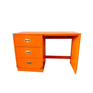 1960s Campaign Orange Lacquered Writing Desk For Sale