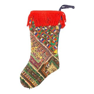 Vintage Embroidered Tribal Quilt Christmas Stocking For Sale