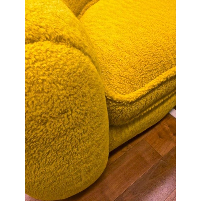 """Yellow Jean Royère Genuine Iconic """"Ours Polaire"""" Couch in Yellow Wool Faux Fur For Sale - Image 8 of 11"""