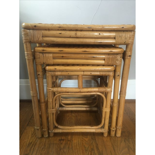 Boho Chic Vintage Rattan Nesting Tables - Set of 3 For Sale - Image 3 of 6