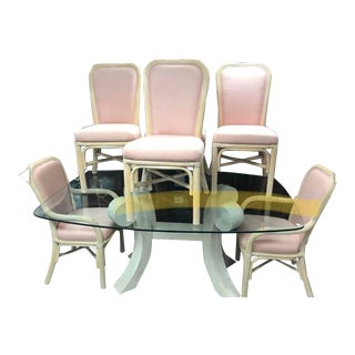 Art Deco Style Rattan Pencil Reed Sculptural Dining Table and Chairs - 7 Pieces For Sale
