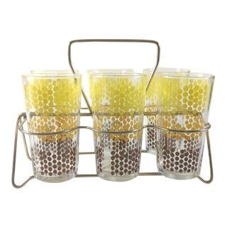 Yellow Brown and Gold Highball Glasses in Carrier - 6 Glasses For Sale