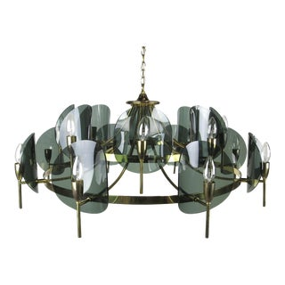 Large Brass and Smoked Lucite Chandelier For Sale