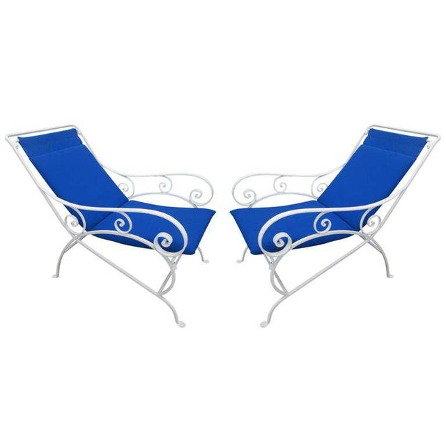 Pair of Wrought Iron Lounge Chairs For Sale - Image 9 of 9