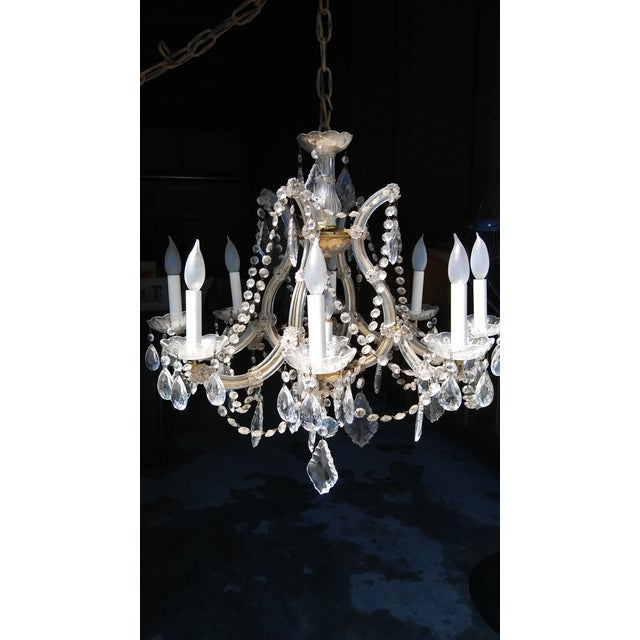 Vintage French Crystal 8 Light Chandelier - Image 6 of 7