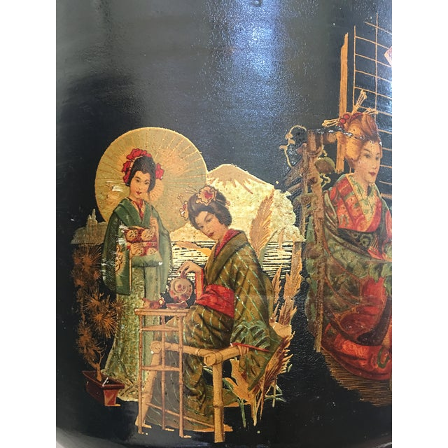Pair of Large Chinoiserie Style Urns or Vases on Pedestals of Glazed Terracotta - Image 4 of 8