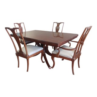 Henredon Furniture Modern English Rosewood Pedestal Rectangle Dining Table Set - 5 Pieces For Sale