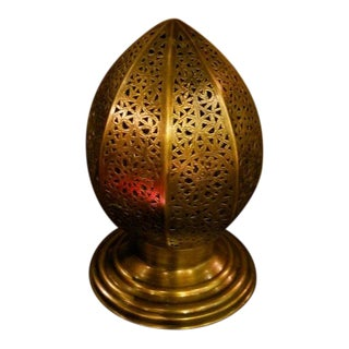 Moroccan Egg Shaped Copper Table Lamp For Sale