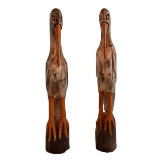 20th Century Asian Antique Wooden Crane Sculptures - a Pair For Sale